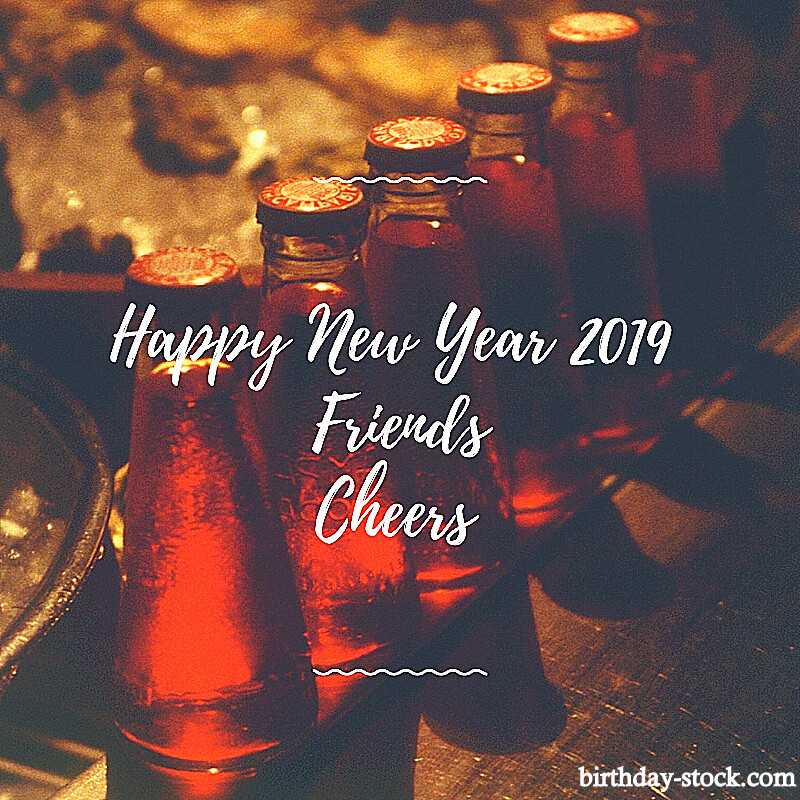 Happy New Year 2019 for young ones with beer background