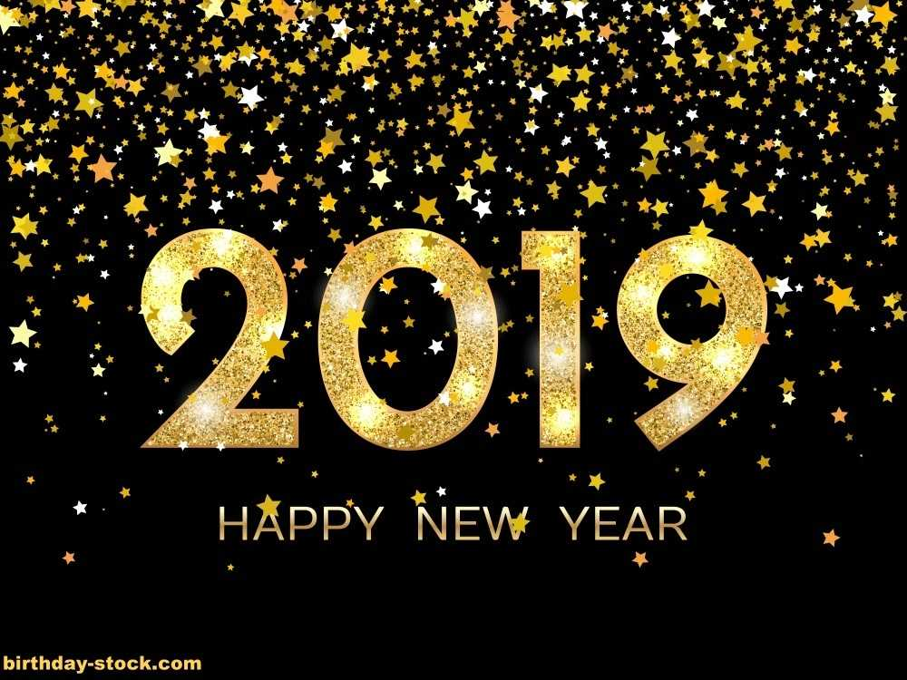 Happy New Year with with golden color