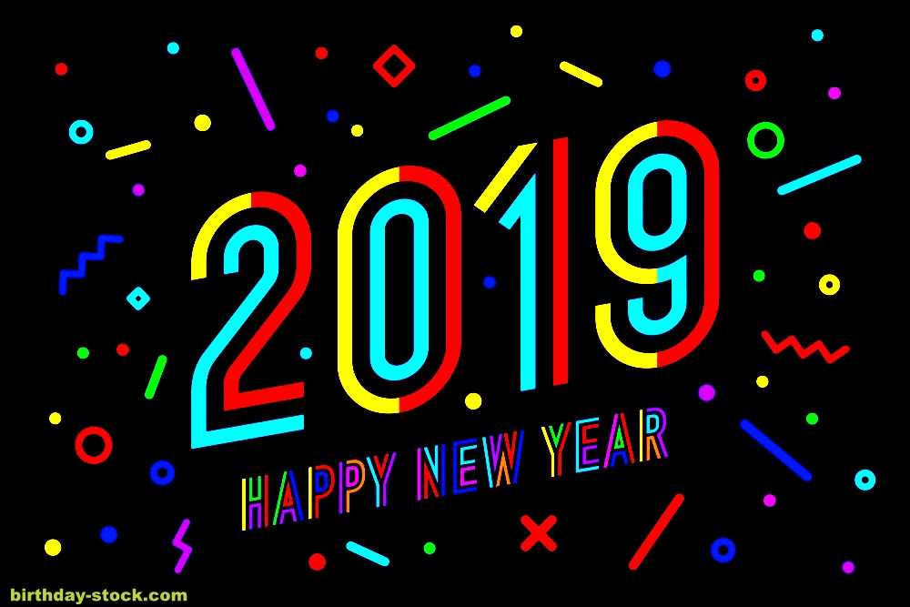 Happy new year Image with Colorful Alphabets