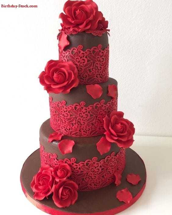 Happy Valentines Day cake with red flowers