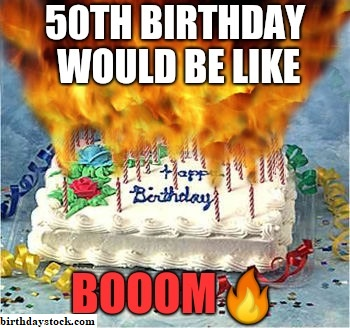 fiftieth Birthday cake with fire