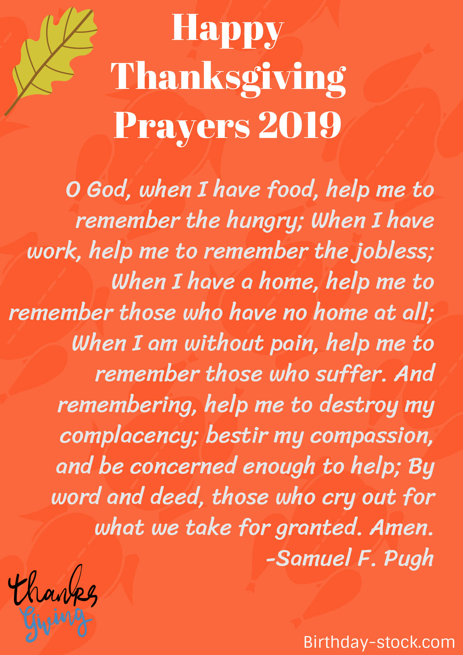 Thanksgiving Prayers for the Thanksgiving Day 2019
